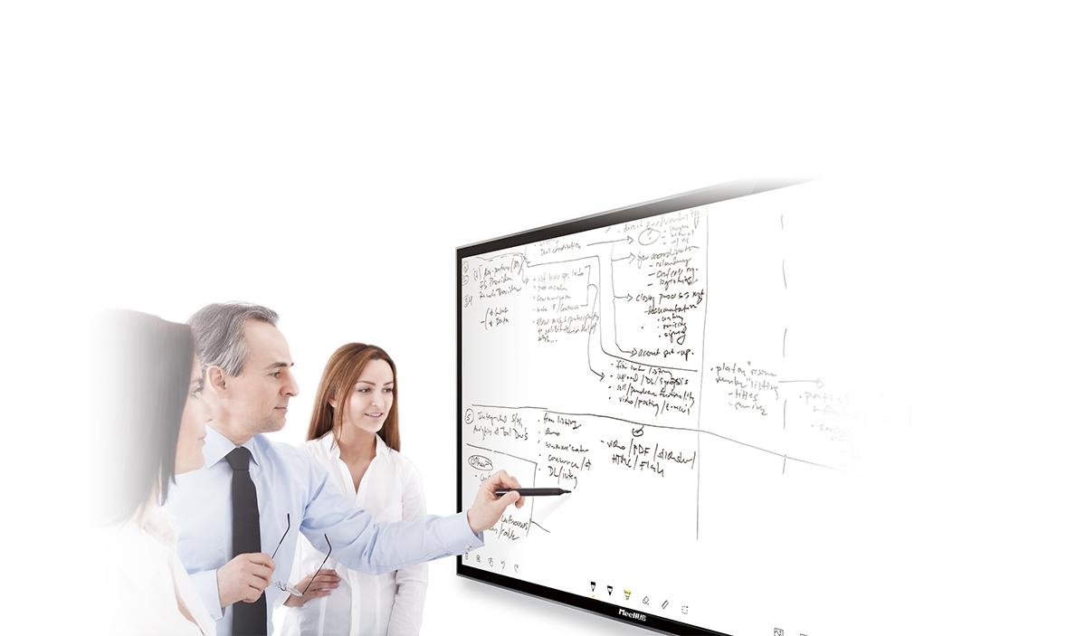 MeeHUB智能会议平板:智能书写、无线传屏、视频会议、多屏互动、随时批注、手背擦除、多手势操作、扫码带走等特点,为您带来大屏智能互动新体验!